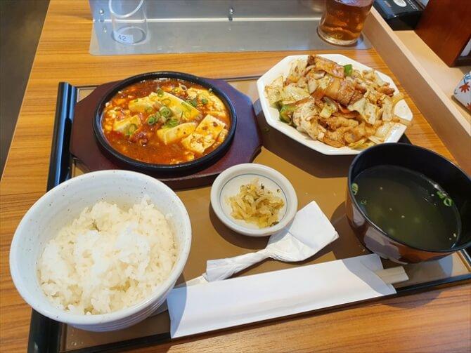 回鍋肉と麻婆豆腐の定食